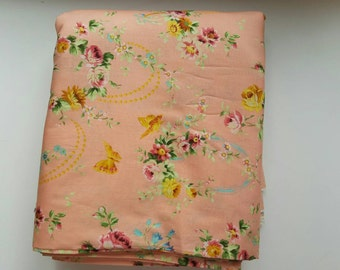 1/2 Yard Flower Power Loopy Vintage in Peach by Jennifer Paganelli for Free Spirit, OOP & VHTF