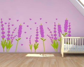 Lavender Vinyl Wall Decal Lavender Wall Decal Lavender Home Decor Lavender Room Decor
