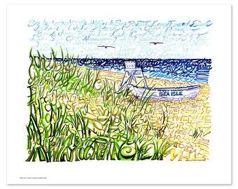 Sea Isle City Word Art - Jersey Shore Art - Beach Art - Beach Poster - Beach Decor - Beach House Art - Beach Home Decor - Standard for Frame