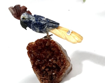 Carved Sodalite Toucan Bird Quartz Tail and Beak on Crystal Citrine Perch Sculpture #904