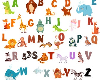 ABC Wall Decals for Kids Rooms - Alphabet Wall Decal Letters - ABC Letter Wall Stickers - WDSET10018