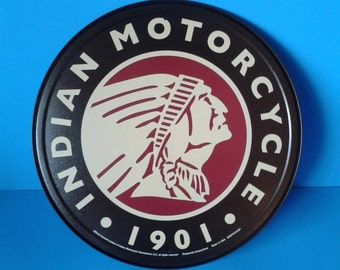 """Metal Sign * Indian Motorcycles * 11.75"""" Dia."""