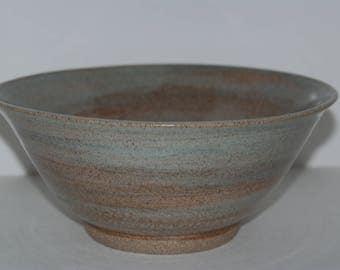 Handmade large sea green pottery bowl.