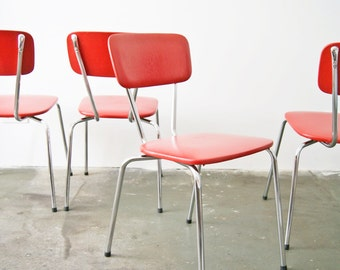 Set 50s chairs - kitchen chair red