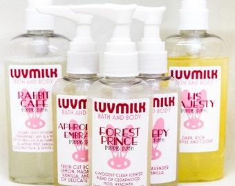 2, 4, & 8oz Bubble Bath - Choose Your Own Luvmilk's Milk Bath Scents - All Natural Soap Body Wash Bubble Bath 3-in-1 Bubbles Bubble Wash