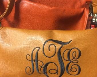 Cognac Leather Monogram Crossbody Bag, Ivory Leather Monogram Crossbody Bag, Rust Leather Monogram Crossbody Bag, Crossbody Monogram Bag