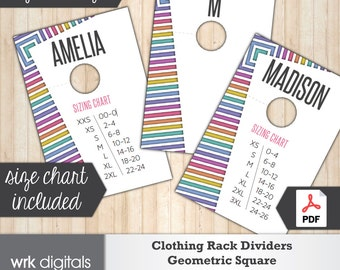 Clothing Rack Dividers, Fashion Consultant Marketing, Geometric Square Design, PRINTABLE, INSTANT DOWNLOAD