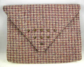 vintage tartan wool clutch with studs, studded plaid clutch, bags and purses, tartan bag, tartan clutch, gift for her, pink plaid bag