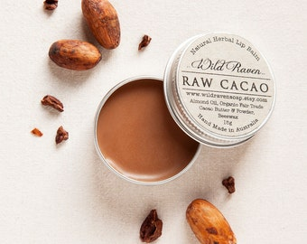 Raw Cacao Lip Balm // Handmade with All Natural Herbal Ingredients // Palm Oil Free