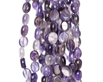 2344_Amethyst translucent beads 8x10 mm, Lilac stone beads, Transparent violet beads, Purple natural beads, Oval amethyst, Natural gemstones