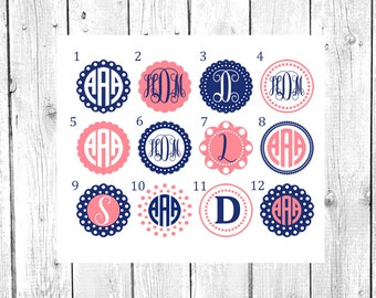 Circle Monogram Decal, Monogram Decal, Yeti Cup Decal, Personalized Sticker, Custom Decal, Car Decal, Vinyl Decal, Yeti Monogram