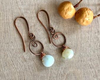 Aquamarine earrings Copper wire earrings Artisan earrings Dangle earrings (#15)