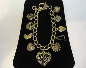 Antique Bronze Heart Charm Bracelet