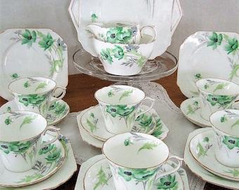 Shelley Art Deco Green ANEMONE Tea Set ART DECO A True Treasure A Perfect Gift, Superb Quality China