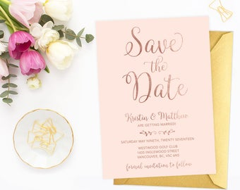 Pink Rose Gold Save the Date Card, Printable Save the Date Cards, Blush Pink Wedding Announcement, Faux Rose Gold Foil Save the Date RGBW
