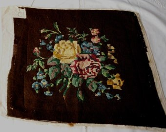 English Victorian Needlepoint Chair Seat Cover.