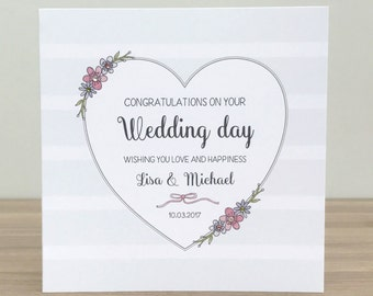 Handmade Personalised Wedding Card - On your wedding day card - personalised wedding day cards