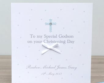 Personalised Godson Christening Card - Handmade Personalised Christening Card - Godson Christening Card - Handmade godson card