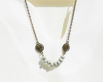 Small blue ceramic balls necklace