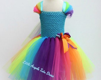 Rainbow Tutu Dress, Handmade Birthday Dress, Super Cute Dress, Birthday Party Dress, Colourful Tutu Dress with Lined Top
