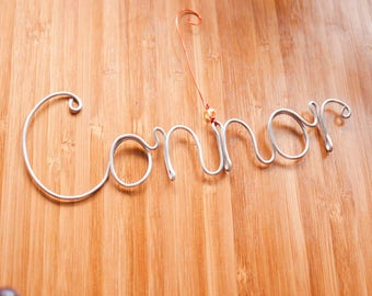 Wire Lettering : Custom Wire Name, Personalized Wire Art, Wire Letters Wall Decor, Name Sign, Crystal Beads, Name Hanger, Home Wall Decor