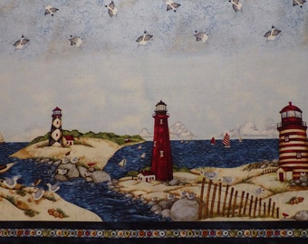 SPX Fabrics - Country Lighthouses -  4660-26383 - Sea - Vacation - Double Border Print - Sea Gulls - Lighthouses - Boats - Sand