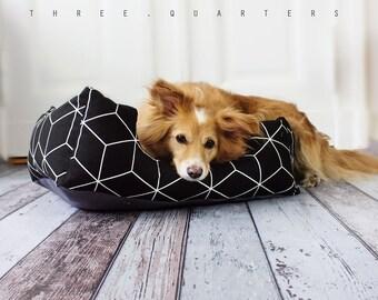 Dog bed, dog cushion, black, lattice, white, dog, cat, puppy, cozy, soft, cat bed, sleeping, pillow, pattern, designer