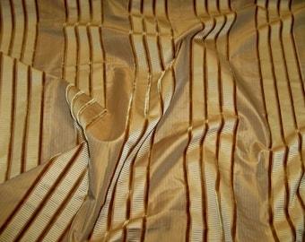 KRAVET COUTURE IMPEND Silk Velvet Stripes Fabric 10 Yards Honey Gold