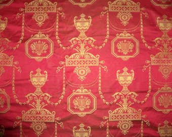SCALAMANDRE Neoclassical POMPEIIN MEMORIES Silk Damask Fabric 4 Yards Red Gold