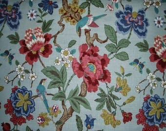 LEE JOFA KRAVET Persian Jacobean Birds & Pomegranite Linen Toile Fabric 10 yards Aqua Blue Multi