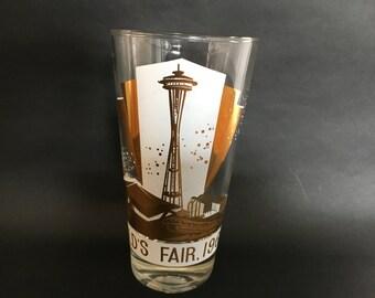 Rare Gold Seattle World's Fair 1962 Souvenir Glass
