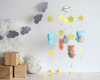 Baby mobile - Owl mobile - Stars mobile - Felt decor - Nursery mobile - Baby room decoration - Nursery decor -Crib mobile - Felt owl mobile