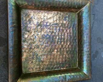 Vintage Hammered Copper Plate