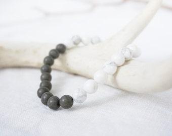 GOOD GRACES / White Howlite • Pyrite / Crystal Bracelet