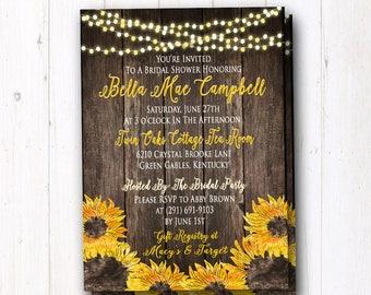 Sunflower Invitation - String Lights & Barn Wood - Rustic Invitation - Country Wedding - Bridal Shower - Family Reunion - Rehearsal Dinner