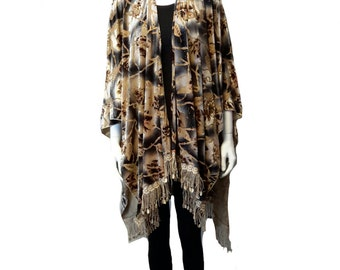 16070 Ladies Burn-out Velvet Knitted Scarves, Shawls, Ponchos & Wraps with Elegant Tassels. One Size:- 62x50""