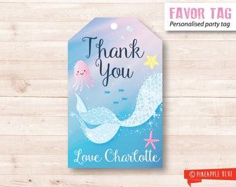 Mermaid favor tag | Mermaid party favor tag | Glitter favor tag | Party gift tag | Birthday favor tag | Little mermaid favor tag thank you