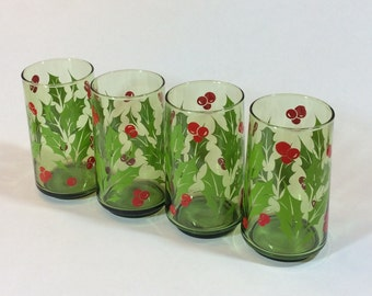 Vintage Christmas Classic Holly Red Berries Tall Drinking Glasses, Green Christmas Holiday Glasses, Set of Four