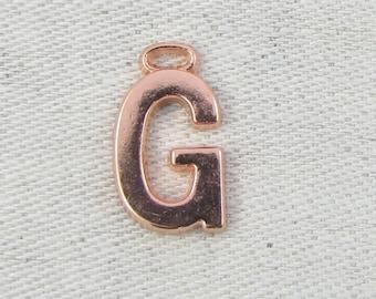 "Rose Gold Wide Sans Serif Letter ""G"" Charm, 1 or 5 letters per package  ALF005g-RG"