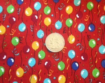 3 Yards 100% Cotton Fabric Red Balloons
