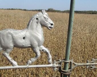 Horse Weathervane Lightning Rod Antique Arrow Pointer Hollow Body Barn Topper a