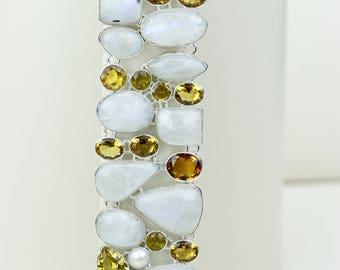 Moonstone Citrine 925 S0LID Sterling Silver Bracelet B2565