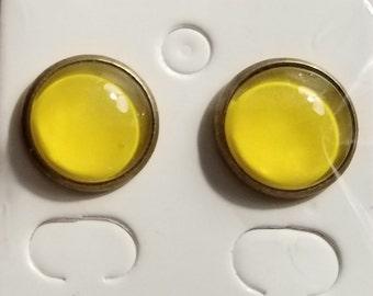 Handmade Deep Yellow Bead Stud Earrings