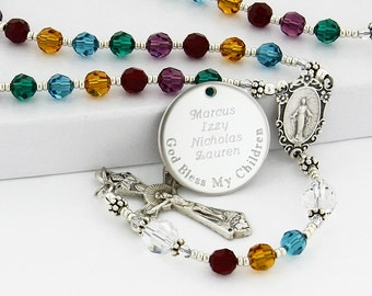 Mother's rosary, All Birthstone rosary, Family rosary, Personalized rosary, Catholic mother gift, Catholic rosary, Rosary beads, QueenBCC4c