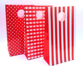 Paper Party Bags. Red stripe, spots, or checkered gingham. Gift bags, favor bags. Loot bag. For birthday parties, baby showers. Party decor.