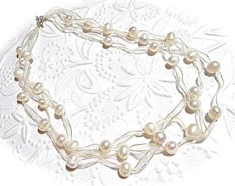 Vintage Genuine Pearl Necklace Multi Strand Necklace Prom VA-176