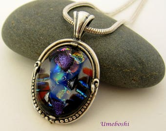 Fourth of July Sterling Silver Mounted Dichroic Fused Glass Cabochon Pendant One-of-a-kind Handmade Jewelry Multi-colored