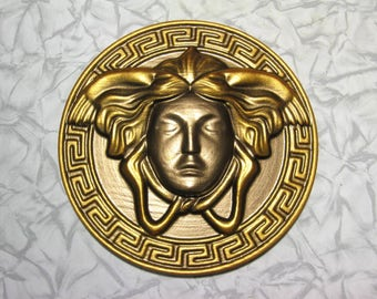 wall plaque bronze gold Greek key Medusa Gorgon style girl head round decoration made of wood madusa face