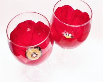 Hand Painted Wine Glasses Poppies Pair
