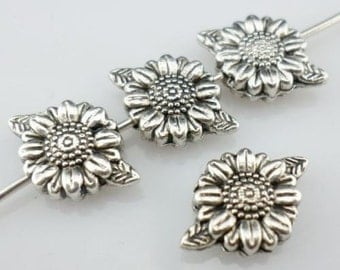 32/300Pcs Tibetan Silver Sunflower Flower Spacer Beads 8x13mm Hole:1mm